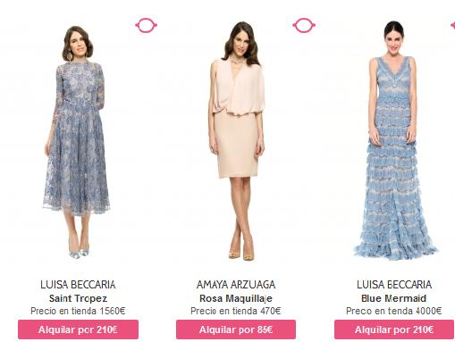 Alquiler vestidos de fiesta precios